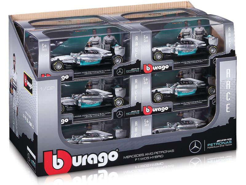 Bburago Mercedes F1 W05 hybrid 1:32 sada 12ks