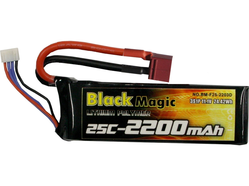 LiPol Black Magic 11.1V 2200mAh 25C Deans BMF25-2200-3D