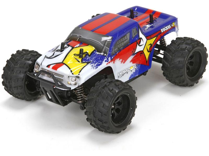 Náhled produktu - 1:24 ECX Ruckus Monster Truck 4WD RTR - modrý