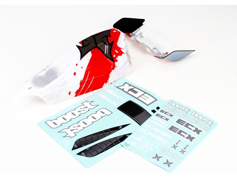 Náhled produktu - ECX Boost - Karosérie bílá/červená + křídlo