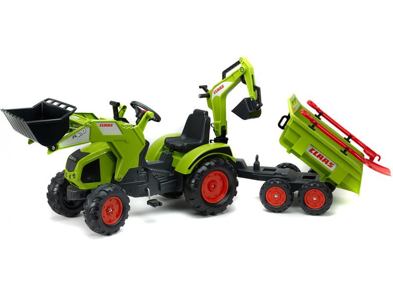 FALK - Šlapací traktor Claas Axos s nakladačem, rypadlem a vlečkou