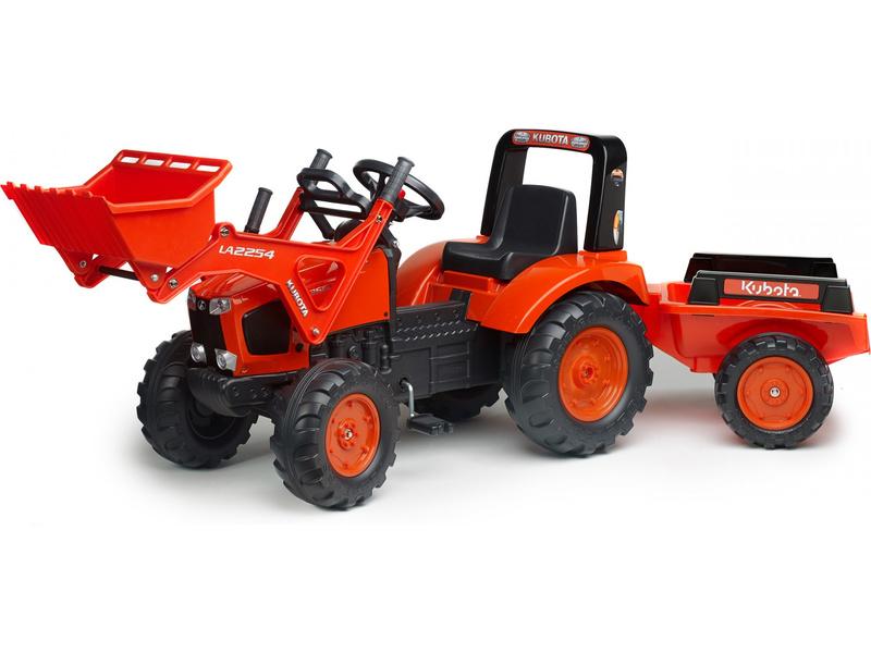 FALK - Šlapací traktor Kubota M135GX s nakladačem a vlečkou