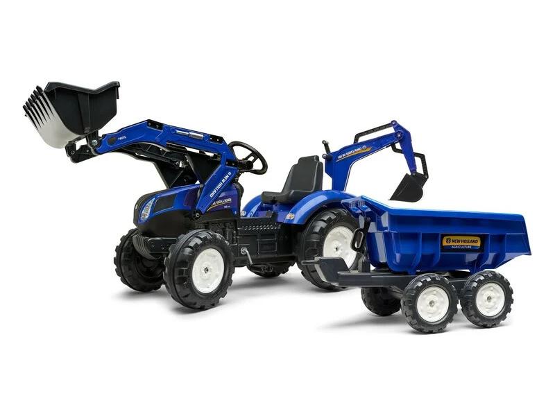 FALK - Šlapací traktor New Holland T8 s nakladačem, rypadlem a maxi vlečkou