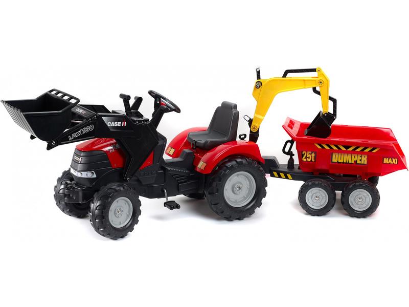 FALK - Šlapací traktor Case IH Puma 240CVX s nakladačem, rypadlem a maxi vlečkou