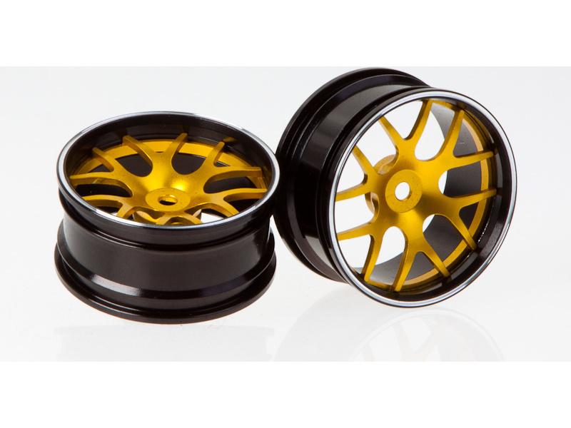 Killerbody Corvette GT2 1:10 - hliníkové disky kol zlaté (2) KB48077Y