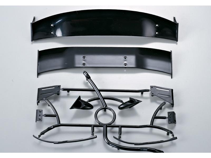 Killerbody karosérie 1:10 - zadní křídlo, stěrače a zrcátka KB48128