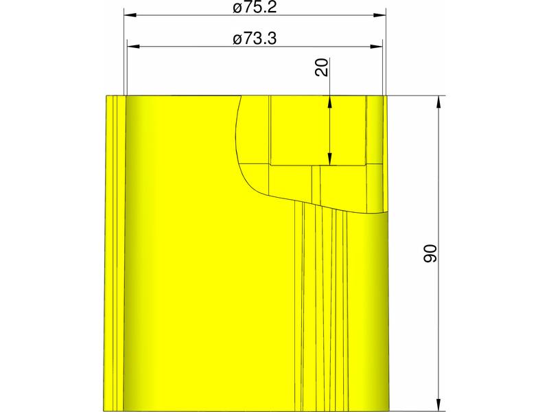 Klima základna 75 mm pro 3 stabilizátory (žlutá)