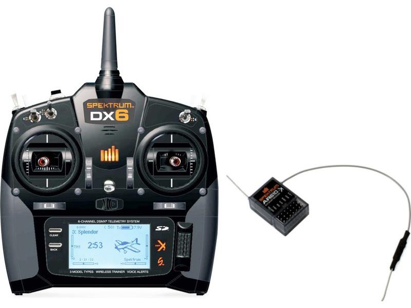 Spektrum DX6 DSMX Mód 1-4, AR610 SPM6700EUC
