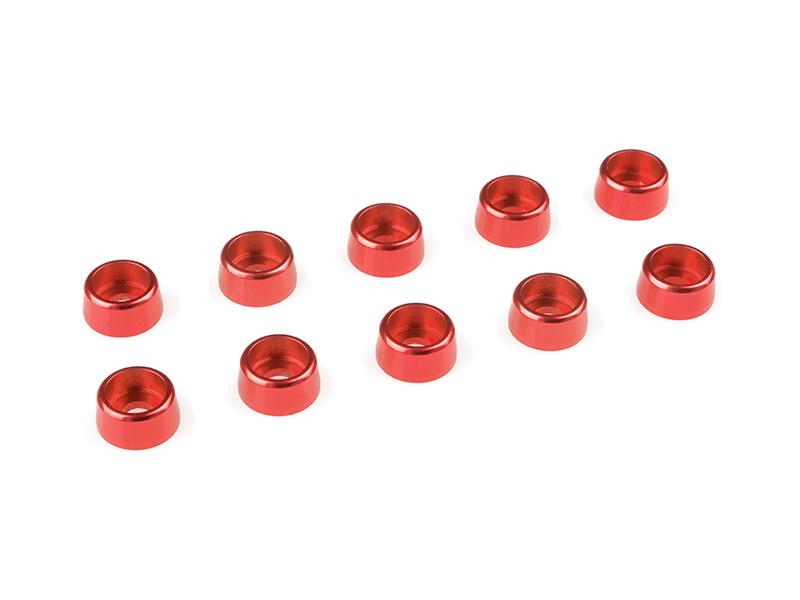 Corally podložka pod vál. šroub M3 8mm hliník červená (10) C-31275