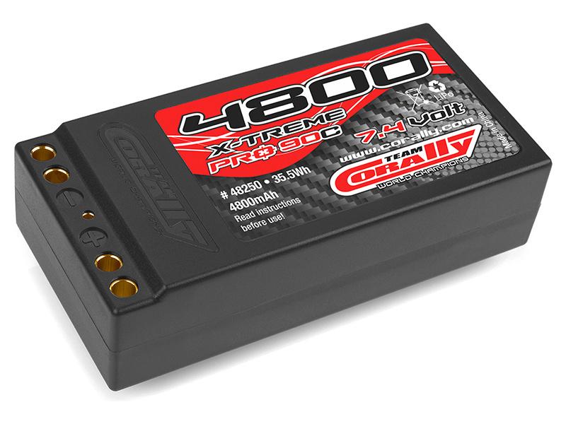 Corally LiPol X-Treme Pro 4800mAh 7.4V 90C dual gold 4mm EFRA/BRCA C-48250