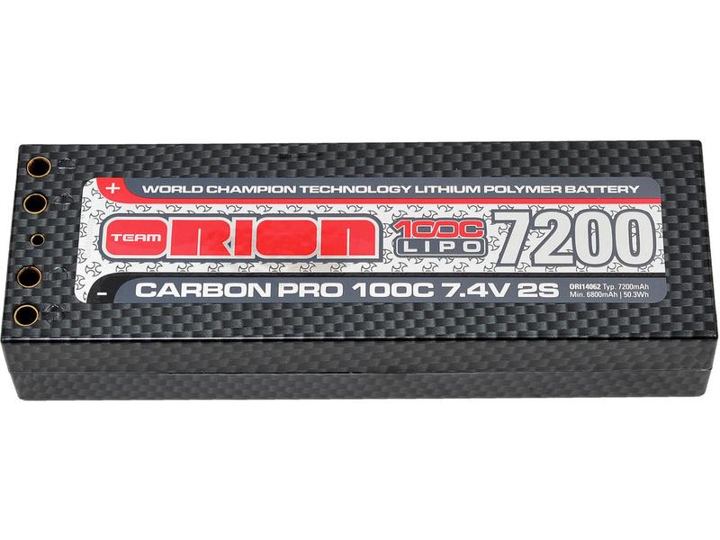 Team Orion LiPol Carbon Pro 7.4V 7200mAh 100C Tubes ORI14062