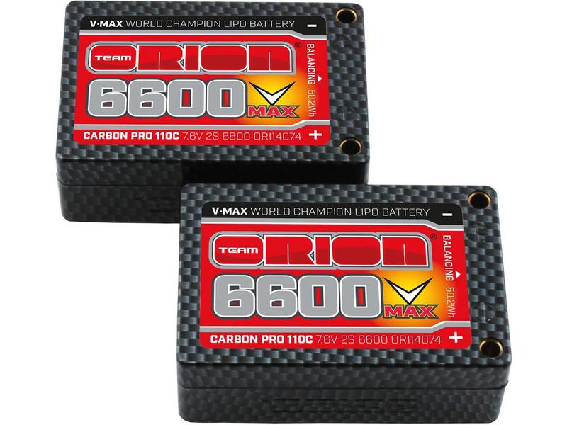 Team Orion LiPol V-Max 6600mAh 7.6V 110C Tubes ORI14074