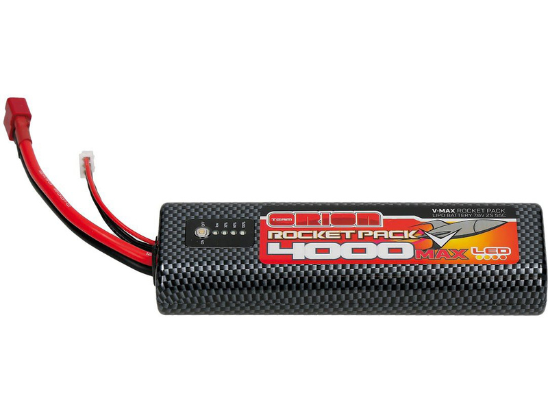 Team Orion LiPol V-Max 4000mAh 7.6V 55C LED Deans ORI14079