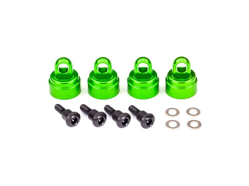 Traxxas - uzávěr tlumiče US hliník zelený (4), TRA3767G, Traxxas 3767G