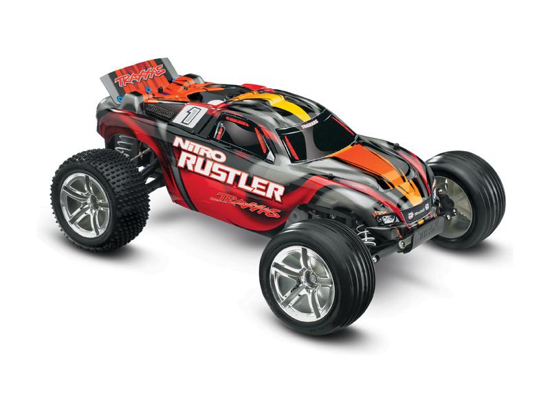 Traxxas Nitro Rustler 1:10 TQi RTR stříbrno-červený, TRA44096-3-SRD, Traxxas 44096-3-SRD