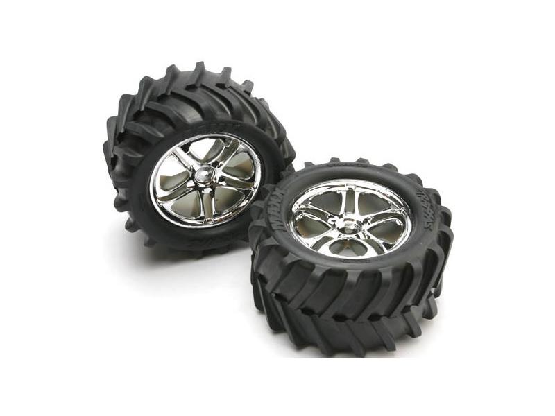 """Traxxas kolo 3.8"""", disk Split Spoke H14 stříbrný, pneu Maxx Chevron (pár), Traxxas 5173, TRA5173"""