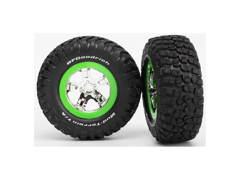"""Traxxas kolo 2.2/3.0"""", disk SCT stříbrný-zelený, pneu KM2 (2) přední, TRA5865, Traxxas 5865"""