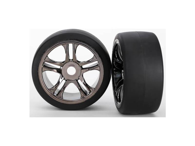 Traxxas kolo, disk Split-Spoke černý chrom, pneu slick S1 (2) (přední), Traxxas 6479, TRA6479