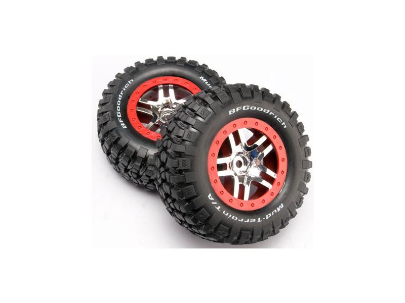 """Traxxas kolo 2.2/3.0"""", disk SCT Split-Spoke stříbrný-červený, pneu KM2 (2), Traxxas 6873A, TRA6873A"""