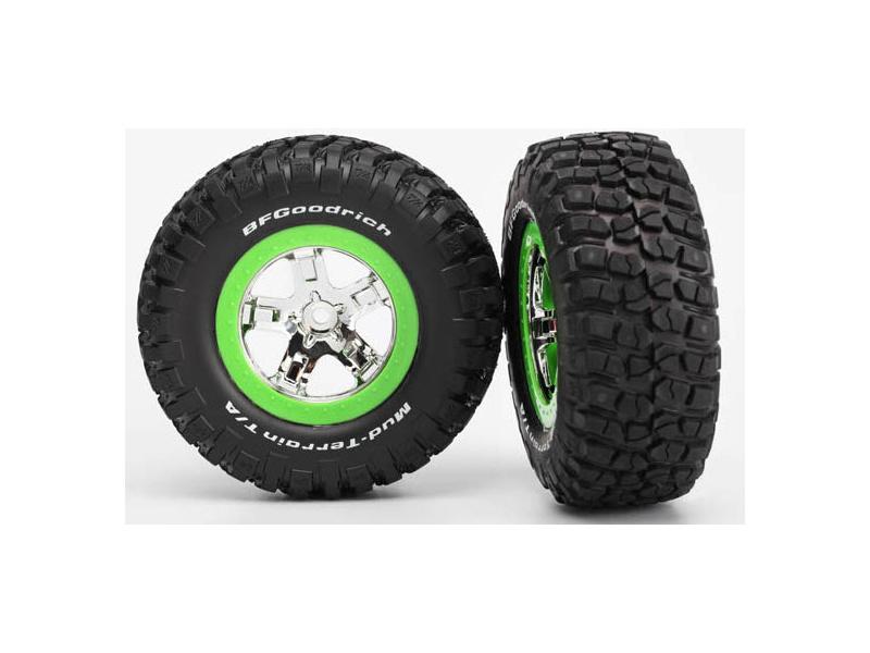 """Traxxas kolo 2.2/3.0"""", disk SCT stříbrný-zelený, pneu KM2 (2), TRA6876, Traxxas 6876"""