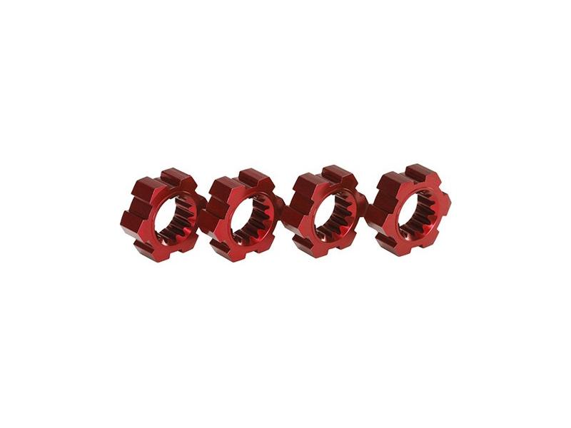 X-Maxx: Náboje kol hliníkové červené s klipy (2), TRA7756R, Traxxas 7756R