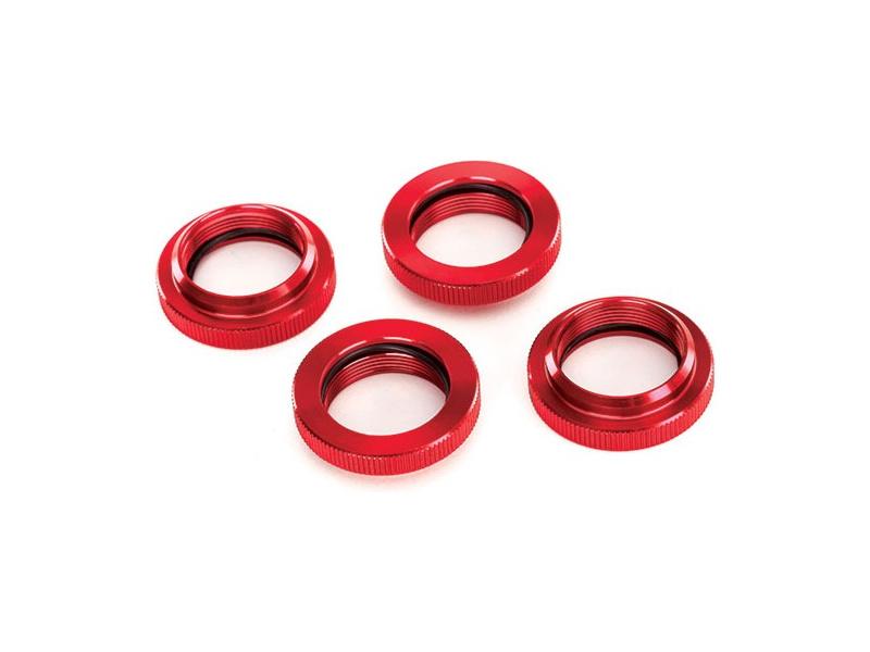 Tlumič GTX: Stavěcí matice pružiny hliníková červená, TRA7767R, Traxxas 7767R