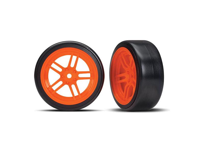 """Traxxas kolo 1.9"""", disk split-spoke oranžový, pneu Drift (2) (přední), Traxxas 8376A, TRA8376A"""