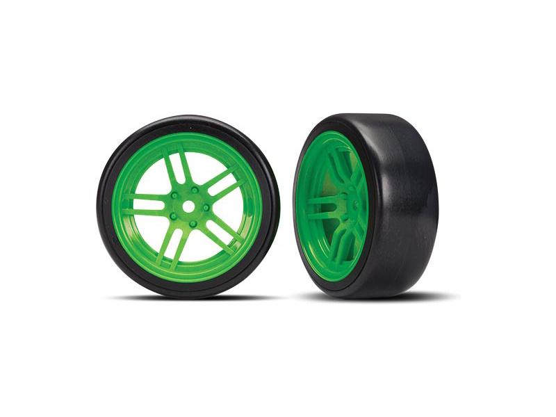 """Traxxas kolo 1.9"""", disk split-spoke zelený, pneu Drift (2) (přední), Traxxas 8376G, TRA8376G"""