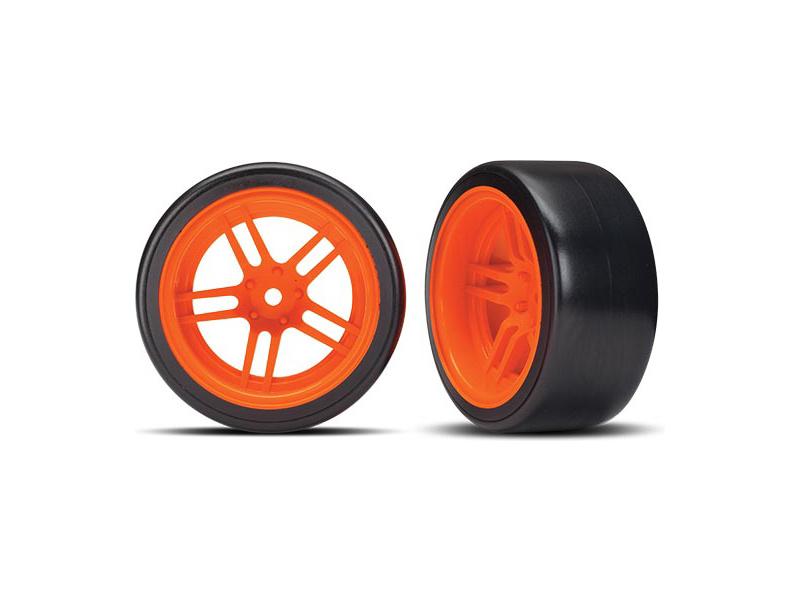 """Traxxas kolo 1.9"""", disk split-spoke oranžový, pneu Drift (2) (zadní), Traxxas 8377A, TRA8377A"""