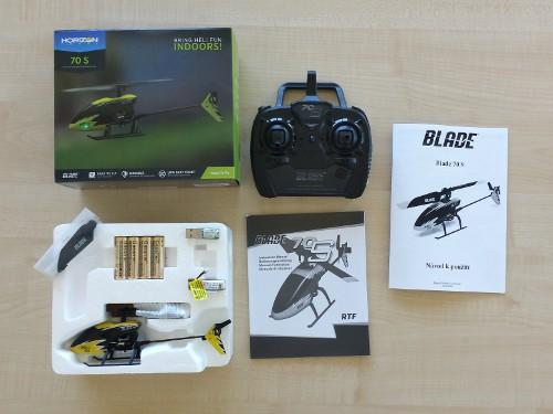 RC vrtulník Blade 70S - balení obsahuje vše, co je k provozu potřeba