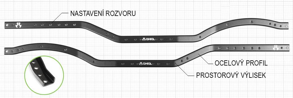 Axial SCX10 II - ocelový rám šasi