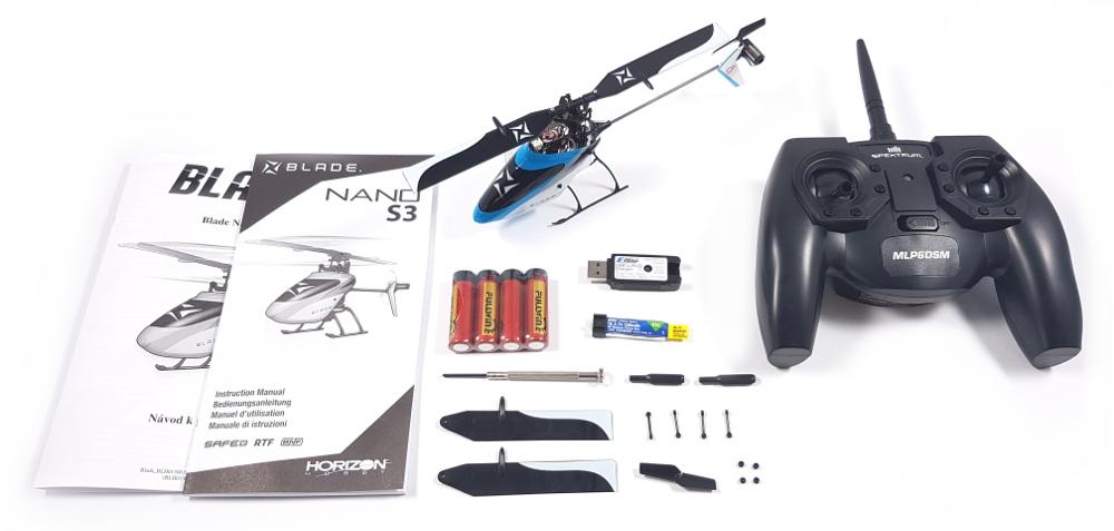 Obsah balení Blade Nano S3 RTF