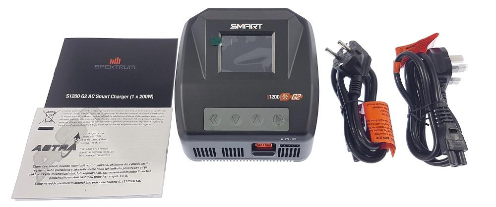 Obsah balení - Spektrum Smart G2 nabíječ S1200 1x200W AC