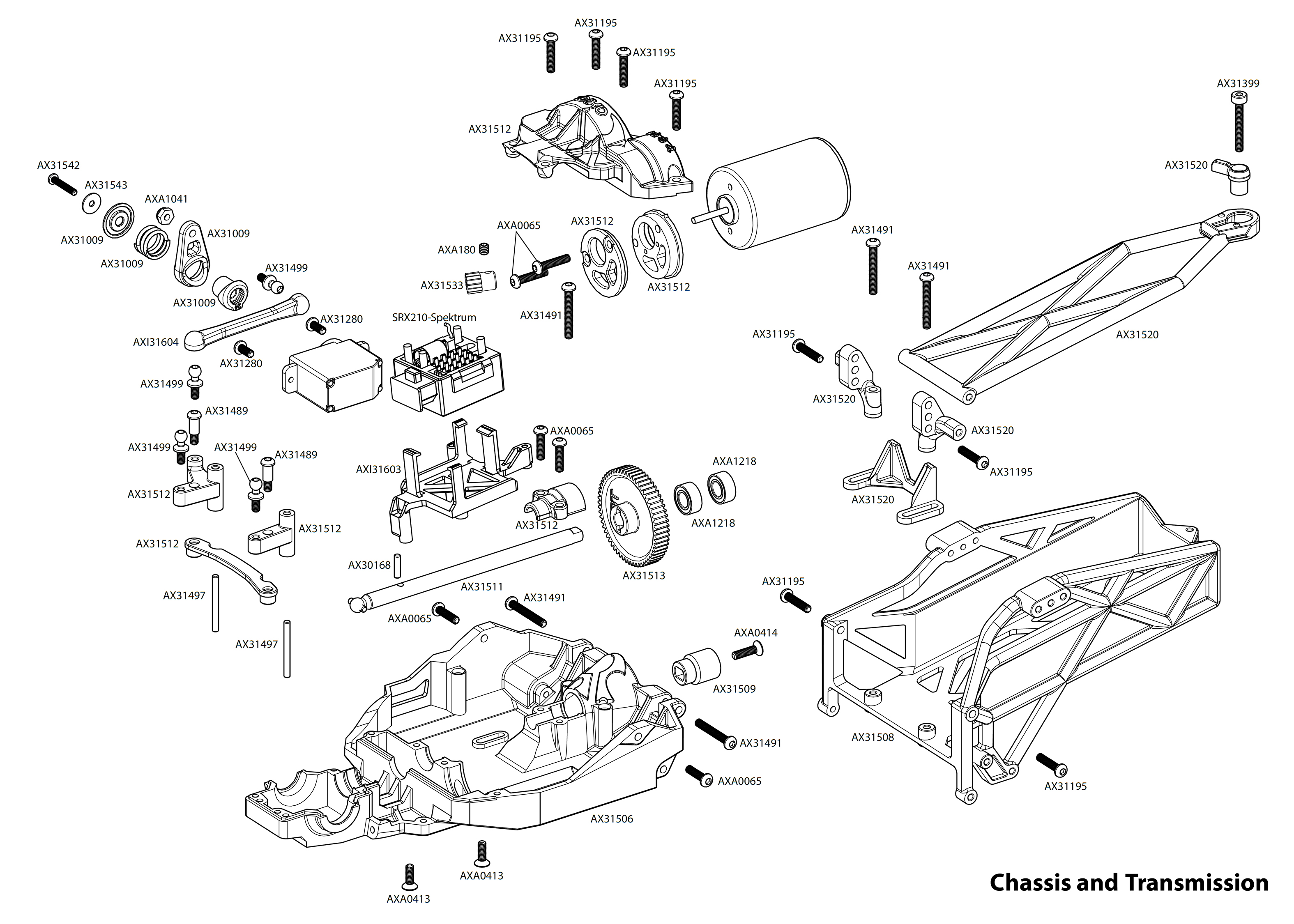 Exploded view: Axial Yeti Jr. Can-Am Maverick 4WD 1:18 RTR