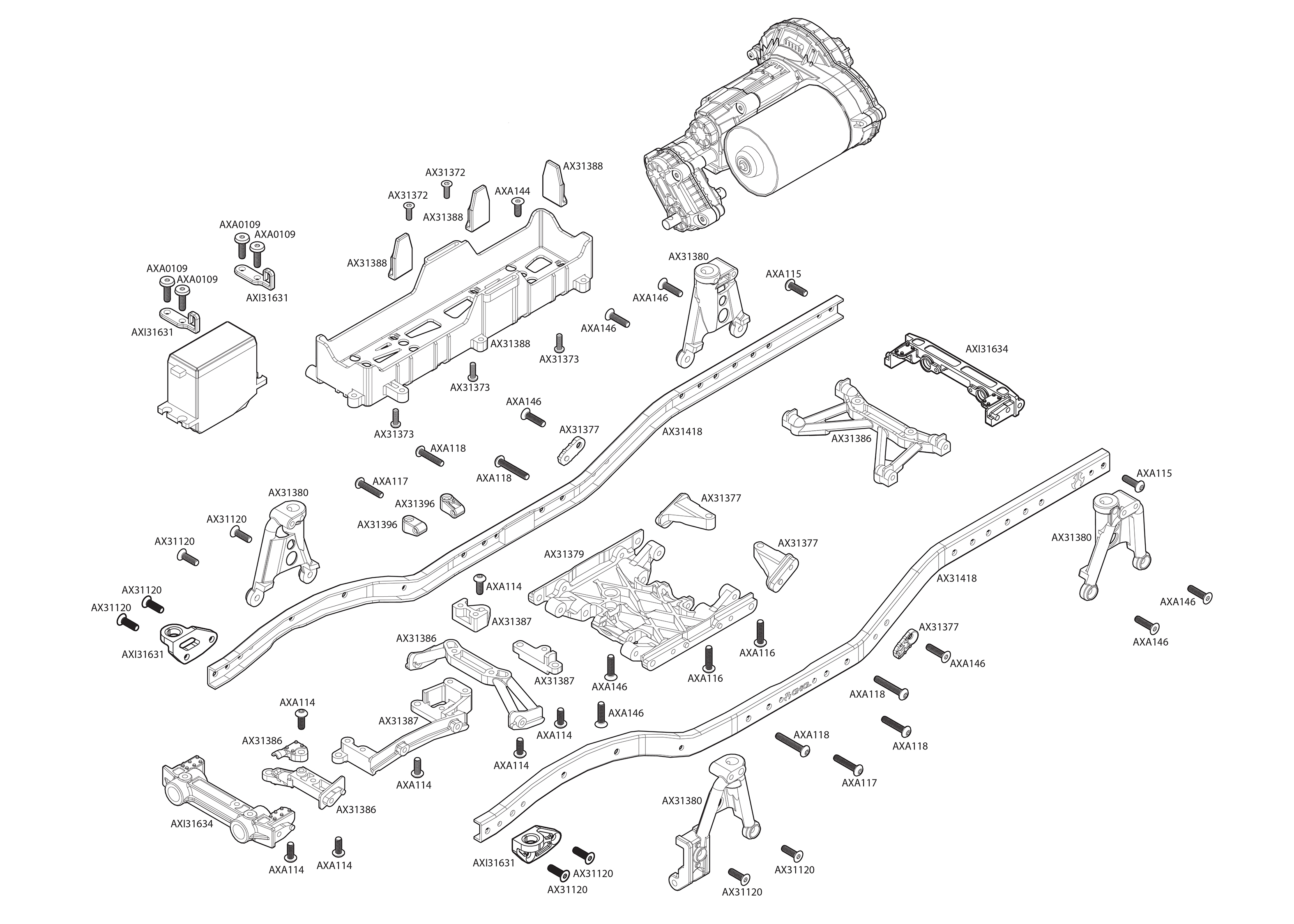 Exploded view: Axial SCX10 II UMG10 1:10 Kit - Chassis | Astra