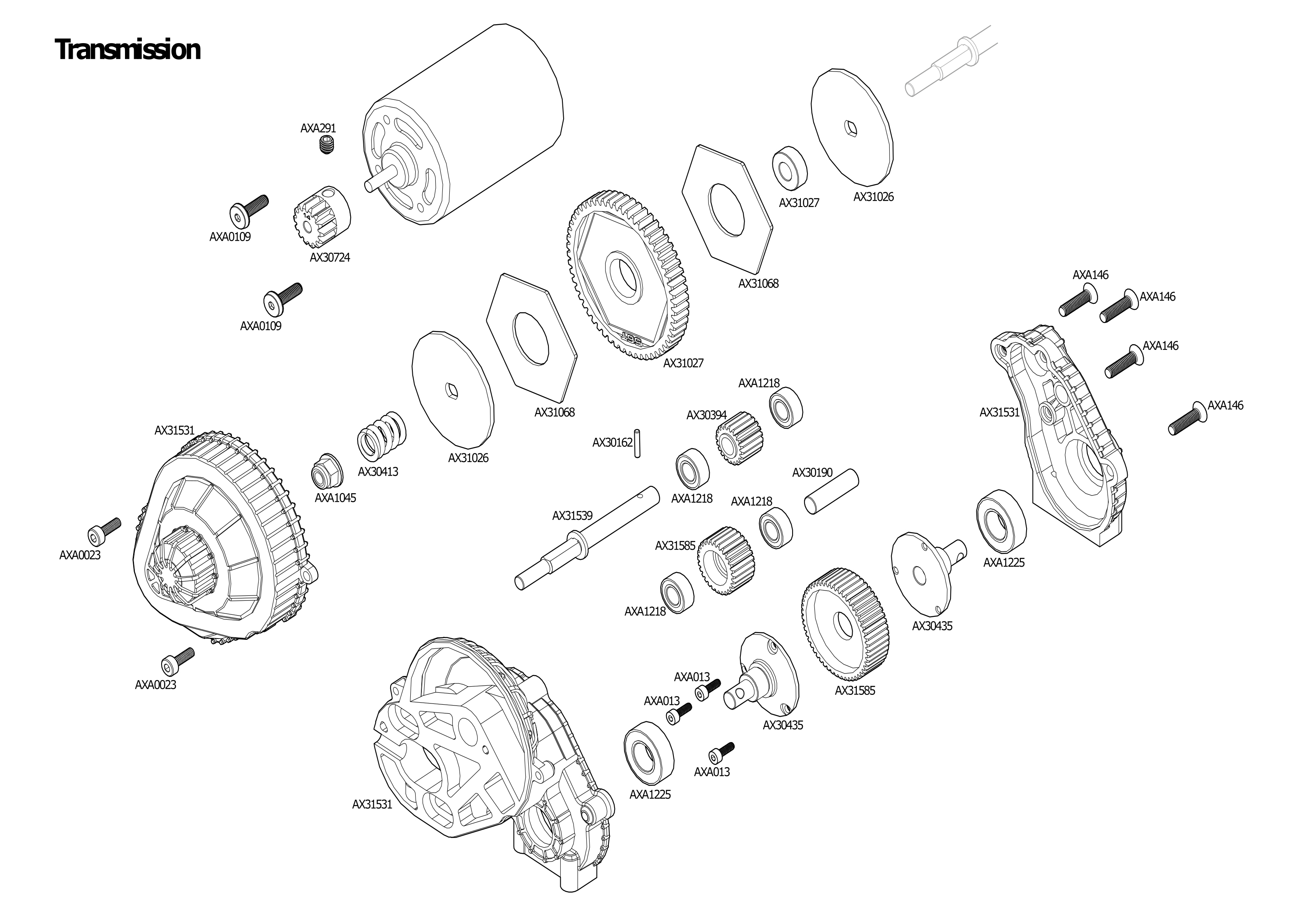 Exploded view: Axial SCX10 II 1:10 Raw Builders Kit