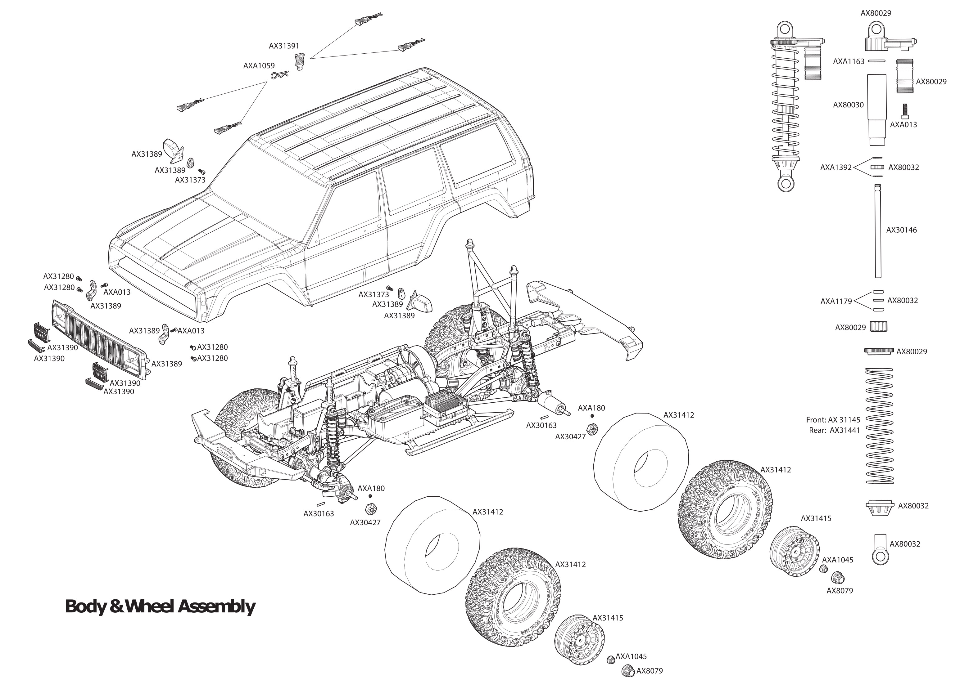 Exploded view: Axial SCX10 II Jeep Cherokee 1:10 4WD RTR