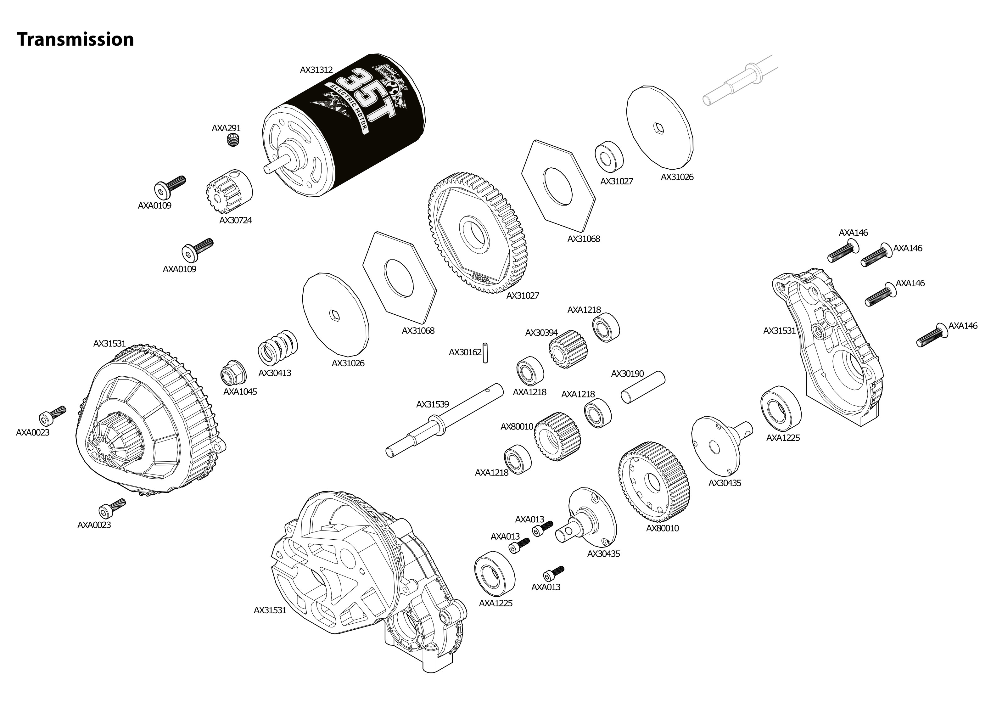 Exploded view: Axial SCX10 II Deadbolt 1:10 4WD RTR