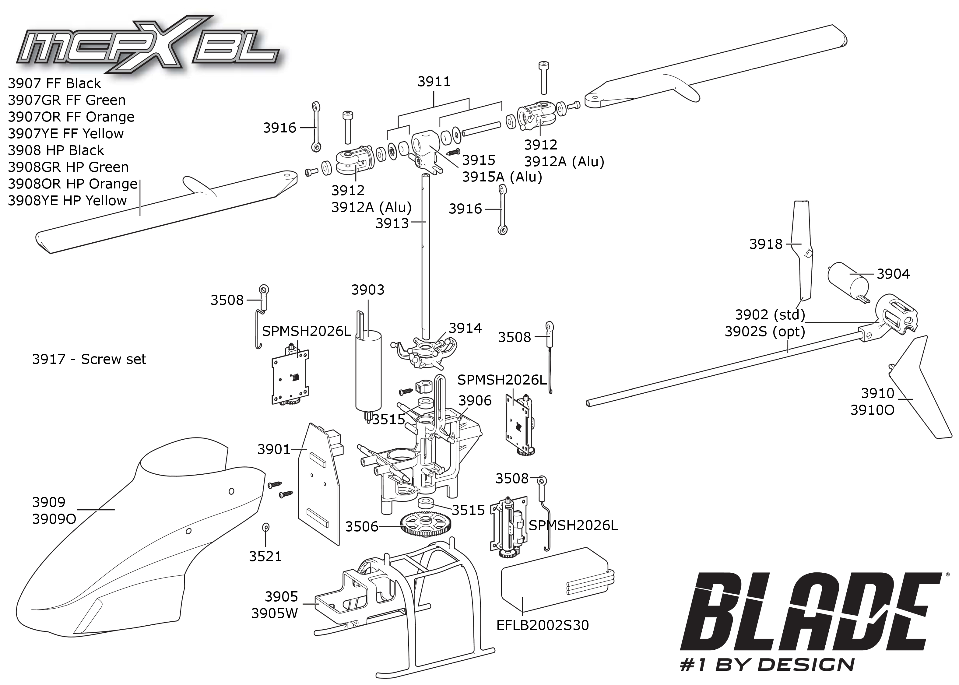 exploded view  blade mcpx brushless