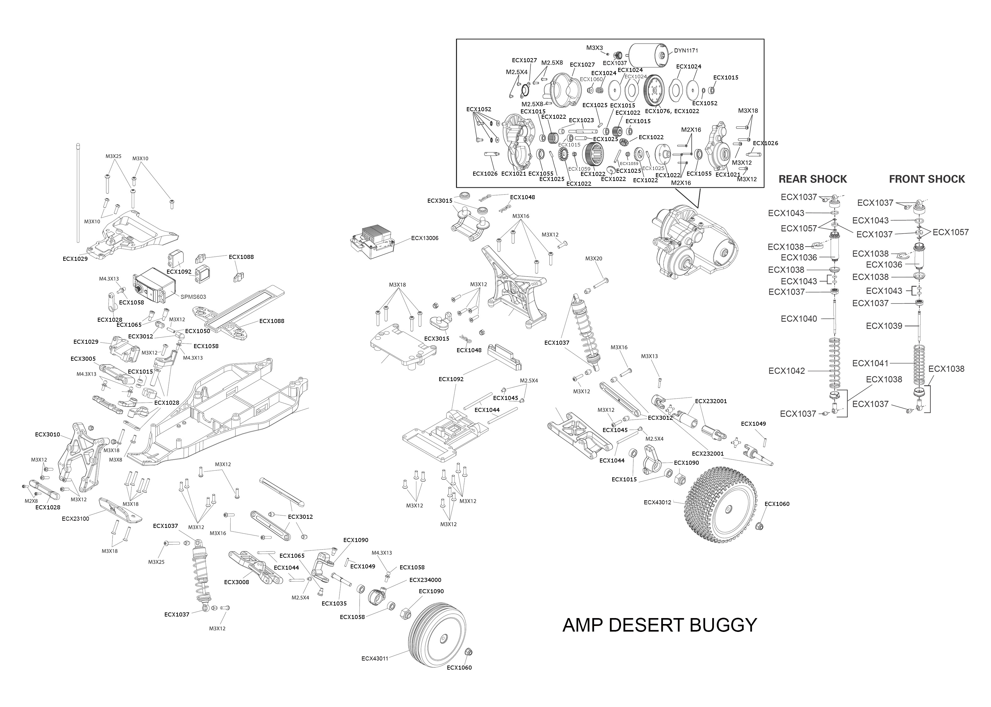 exploded view  ecx amp desert buggy 1 10 2wd rtr