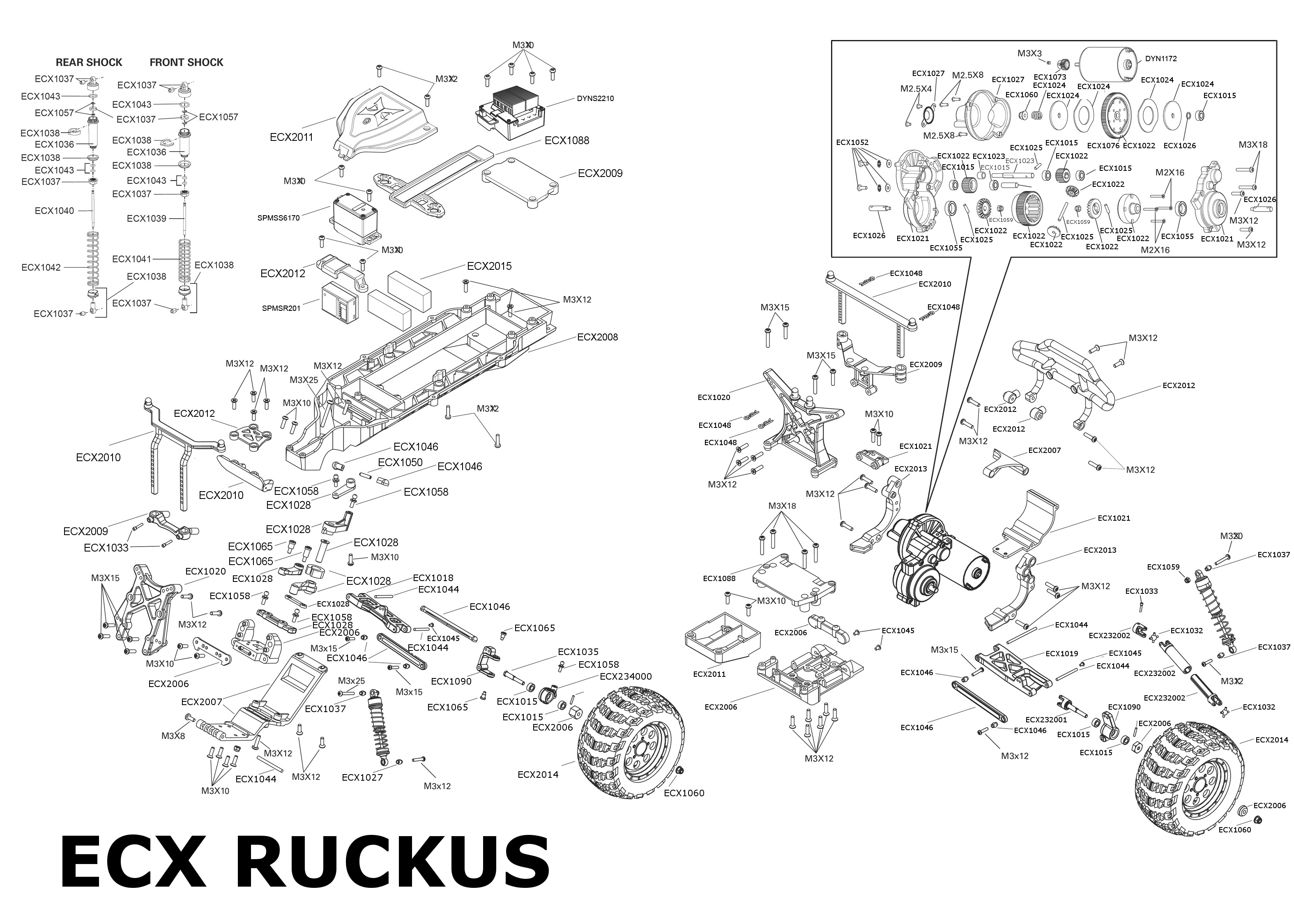 Exploded view: ECX Ruckus 2WD Monster Truck 1:10 RTR