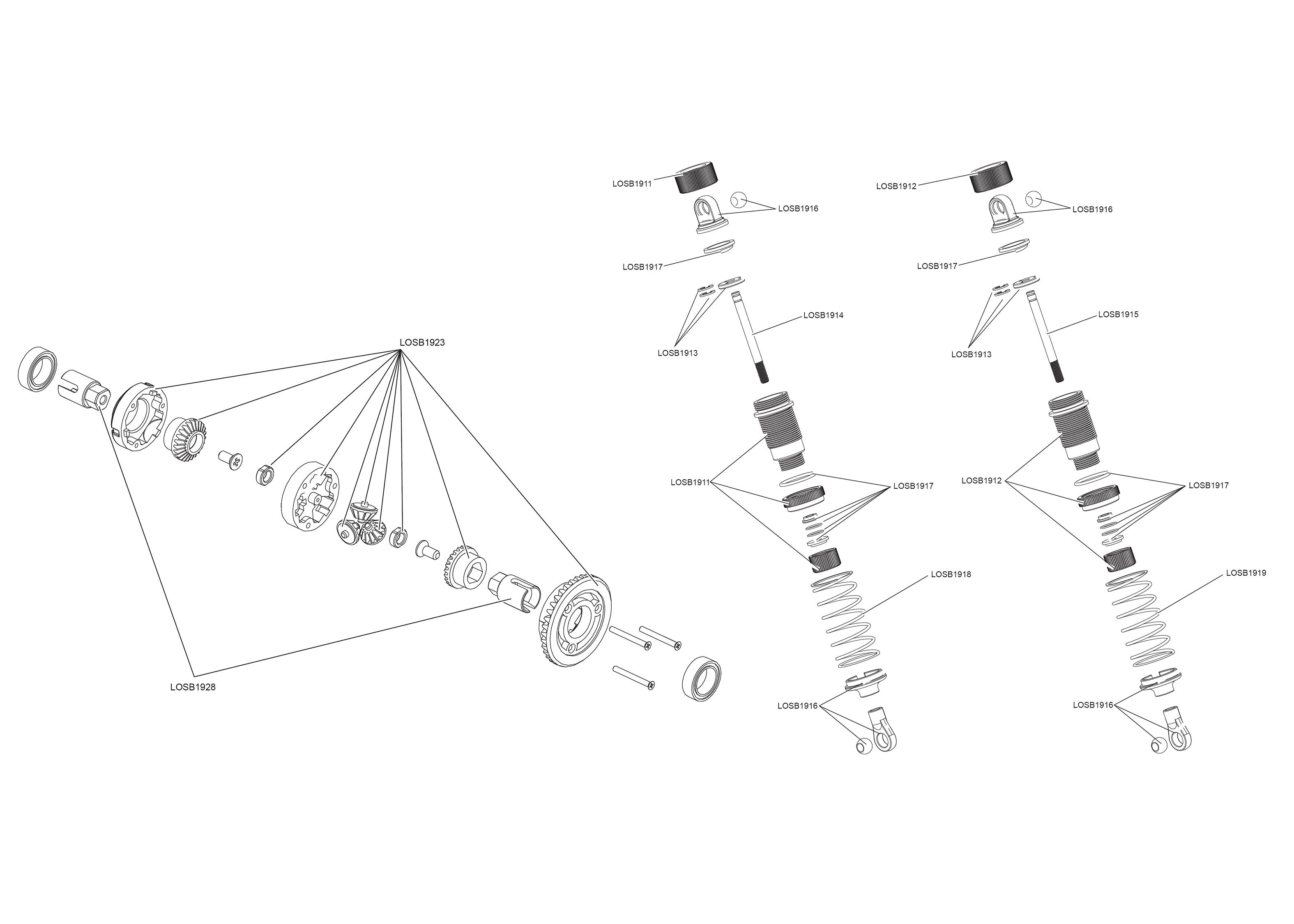 Exploded View Losi Mini 8ight 114 4wd Bl Avc Rtr Diferencil Astra 1911 Diagram