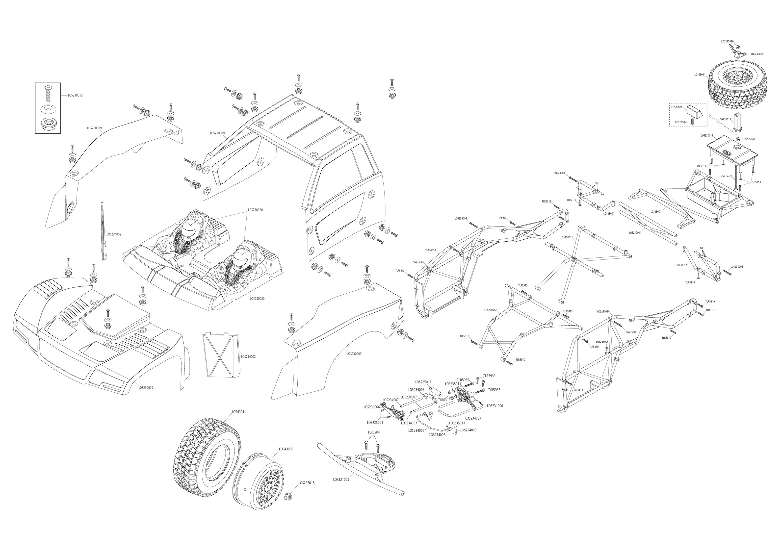 Exploded view: Losi Baja Rey 4WD 1:10 RTR Desert Truck AVC