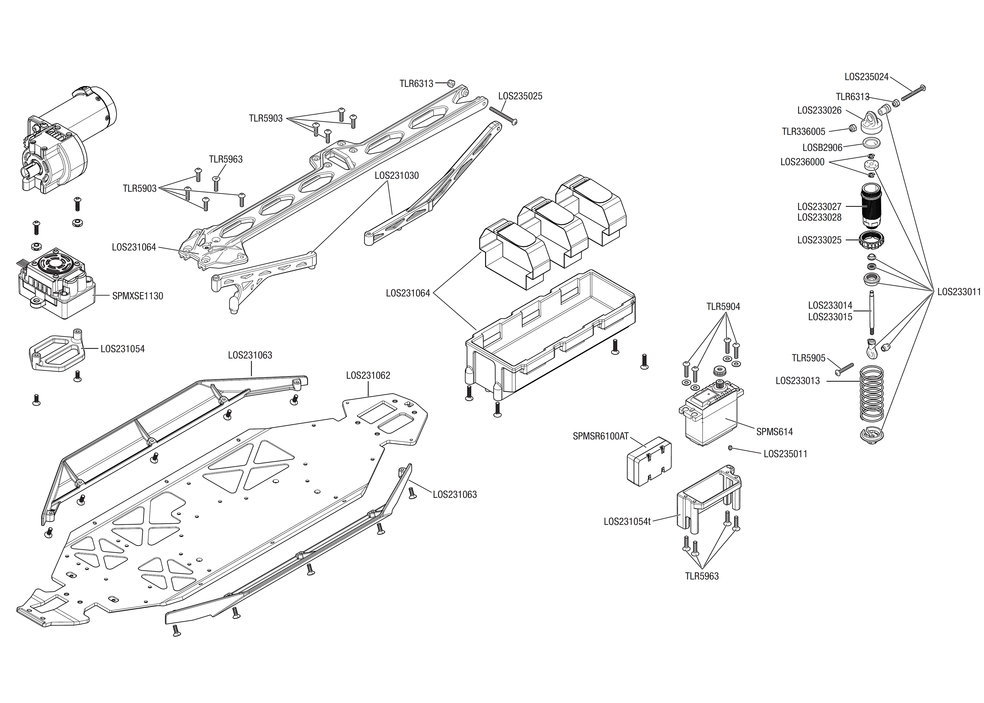 Exploded view: Losi Lasernut U4 1:10 4WD Smart RTR