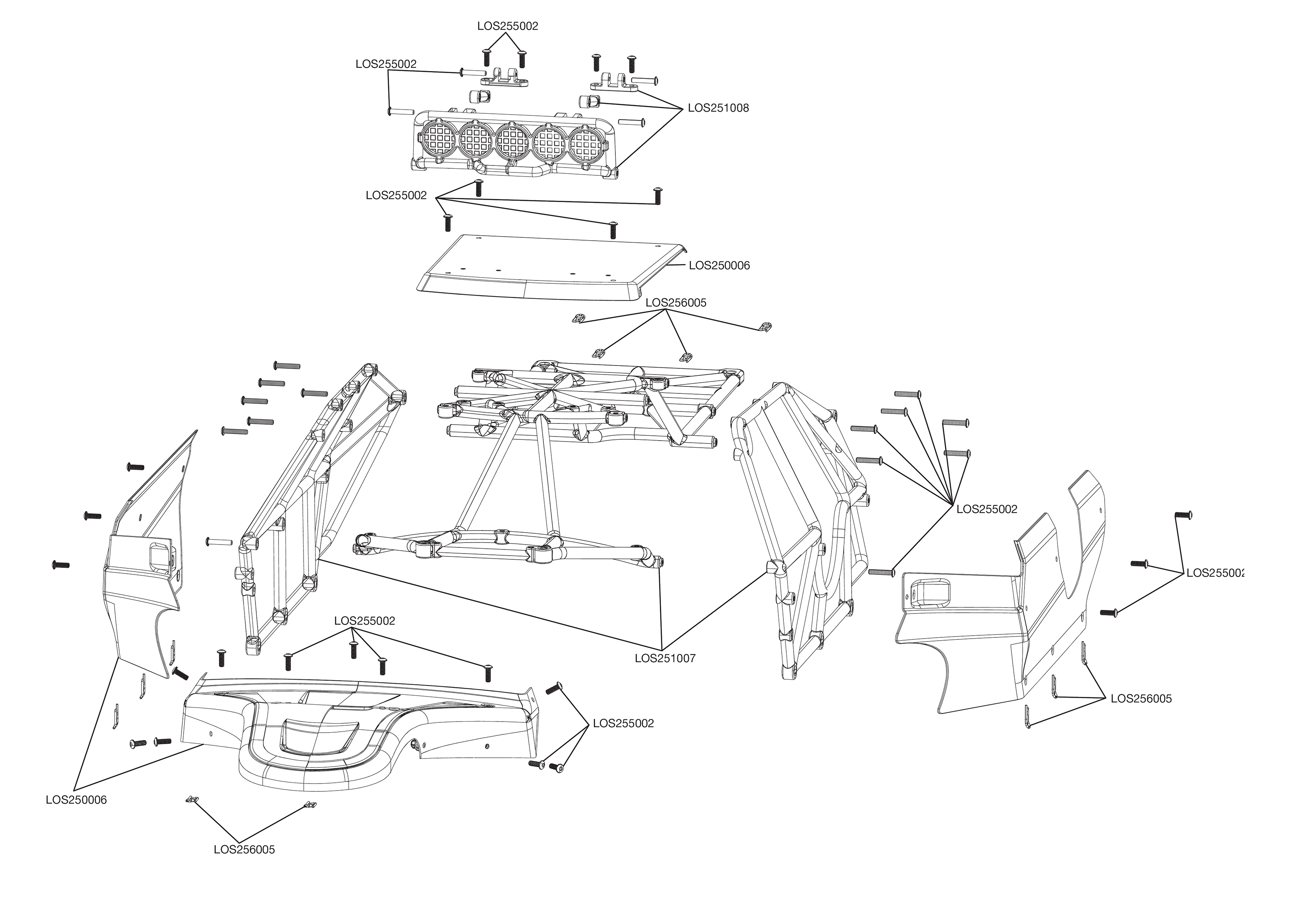 Exploded View Losi Desert Buggy Xl 15 4wd Rtr Body Astra Schematic
