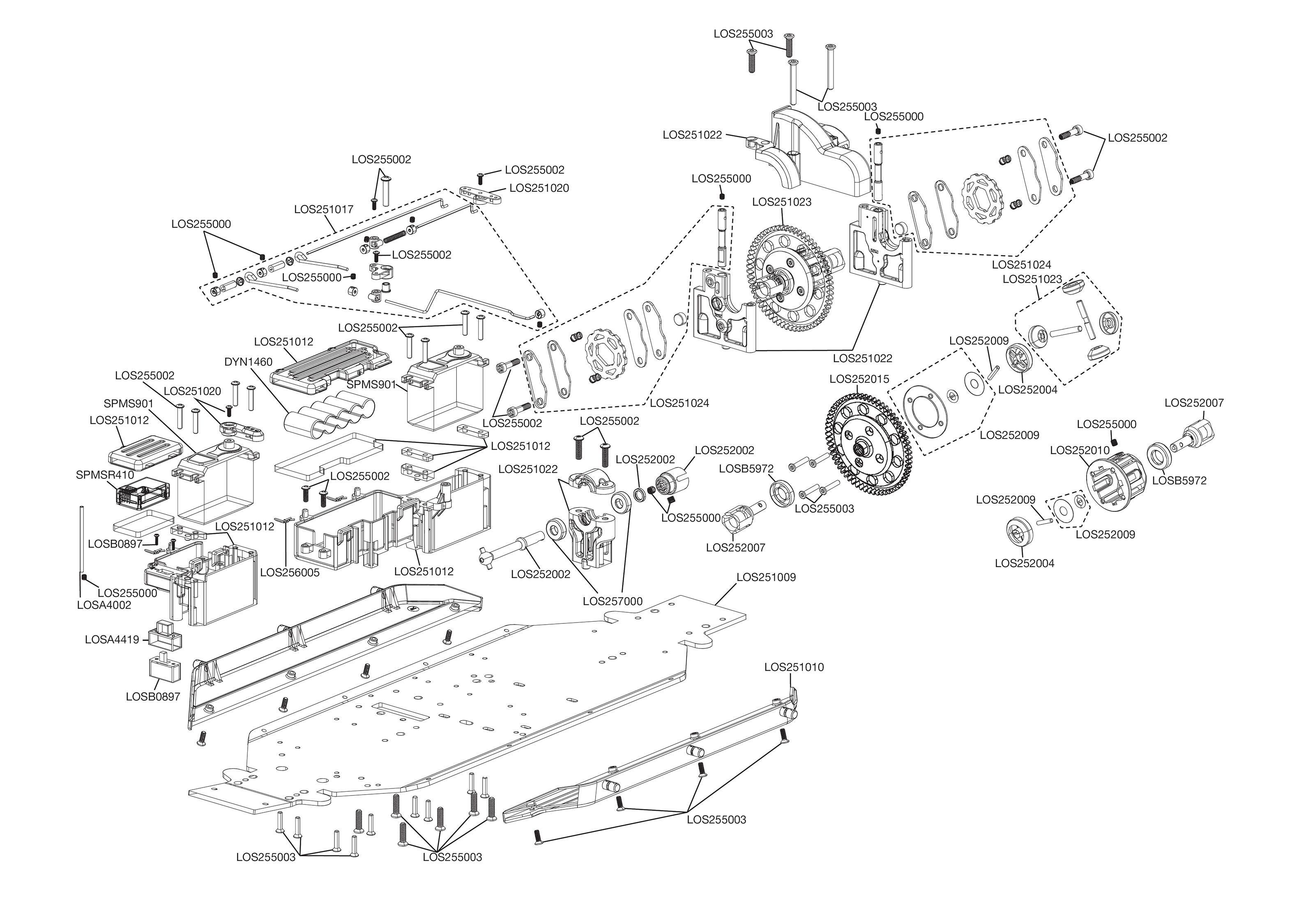 Exploded view: Losi Desert Buggy XL 1:5 4WD RTR