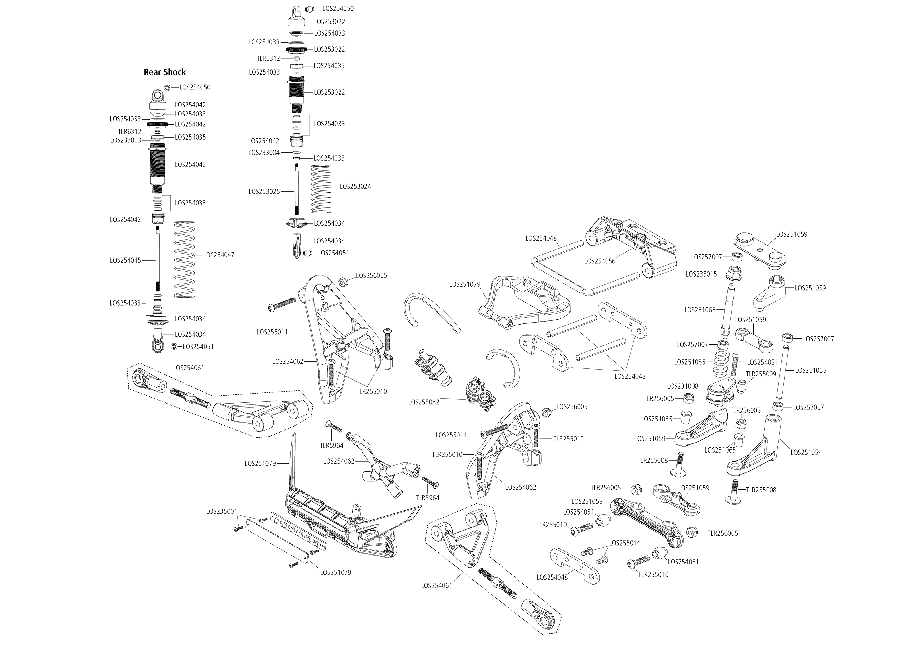 Exploded view: Losi Super Rock Rey 1:6 4WD AVC RTR