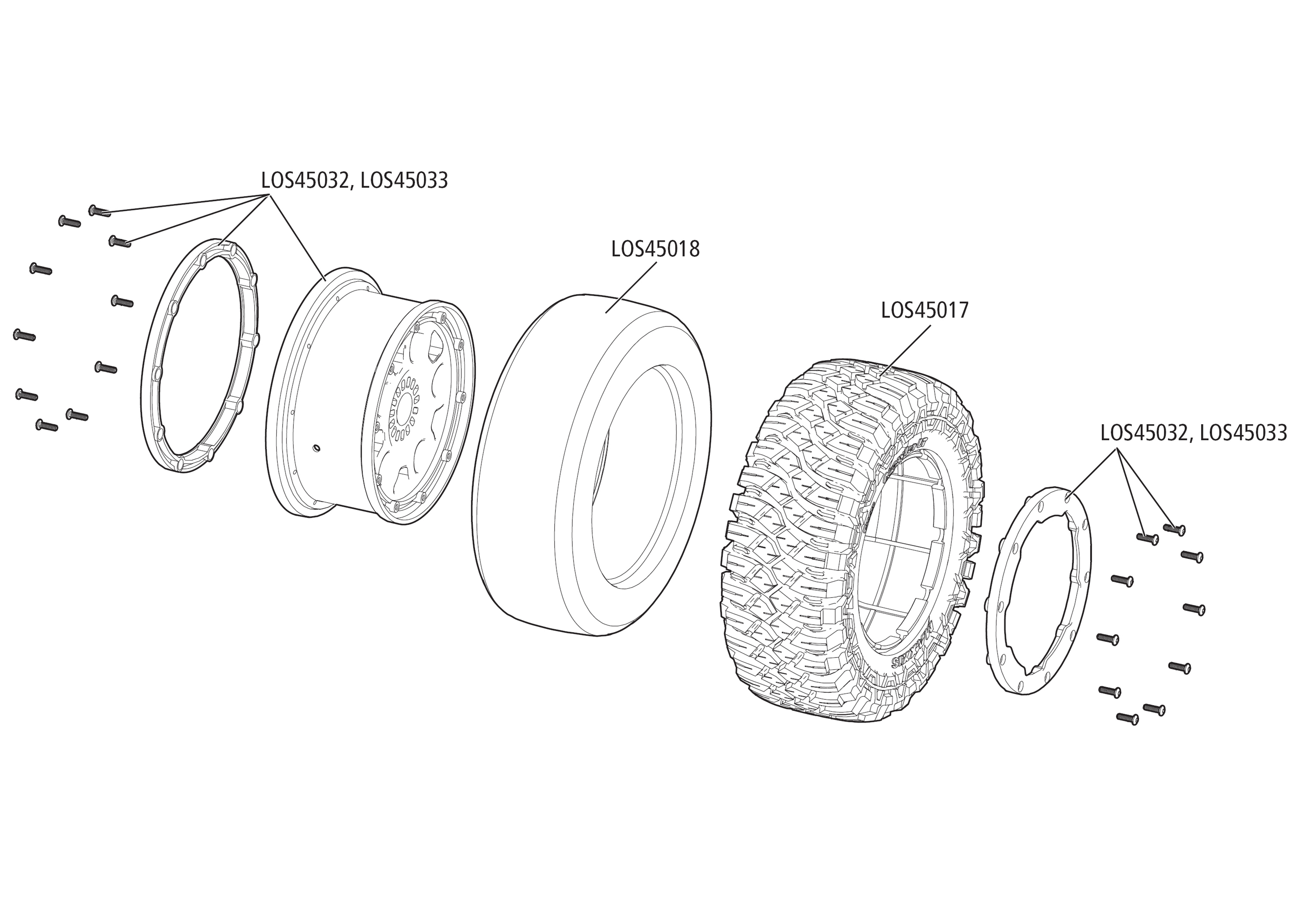 Exploded view: Losi Desert Buggy XL-E 2.0: 1:5 4WD SMART