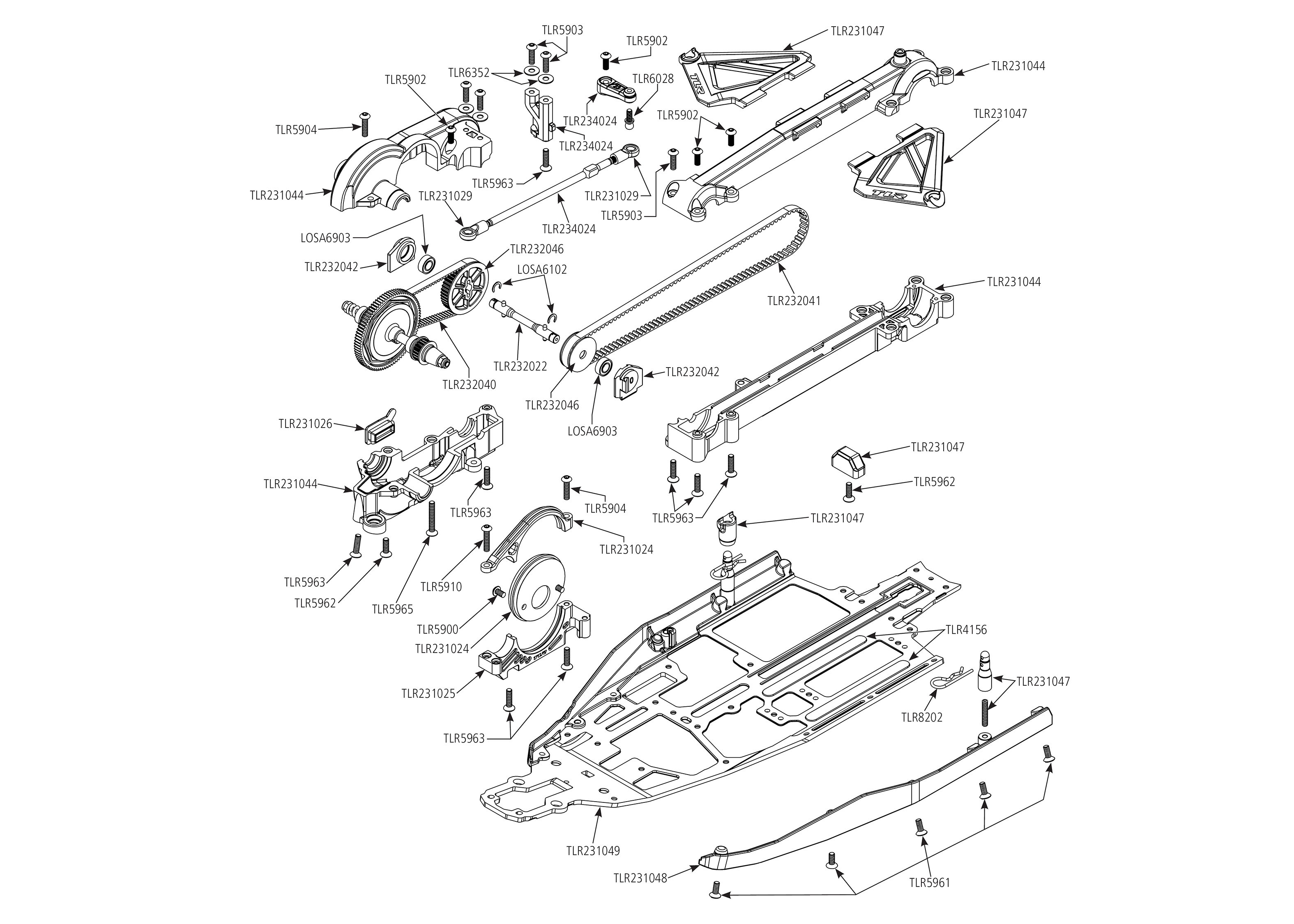 Exploded view: TLR 22-4 2 0 1:10 4WD Race Buggy Kit - Chassis | Astra