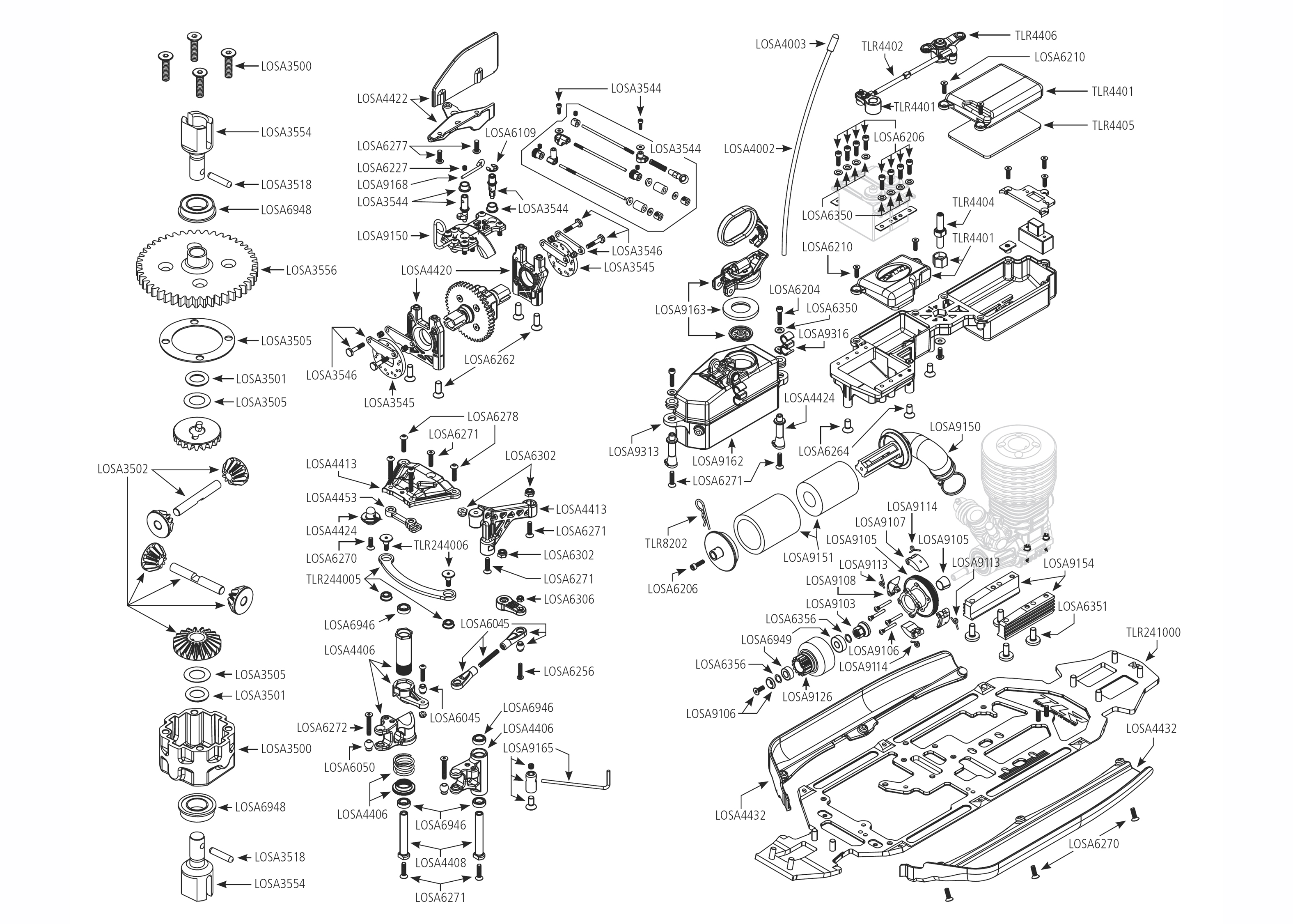 Exploded view: TLR 8ight Buggy 1:8 3 0 Kit - Chassis | Astra